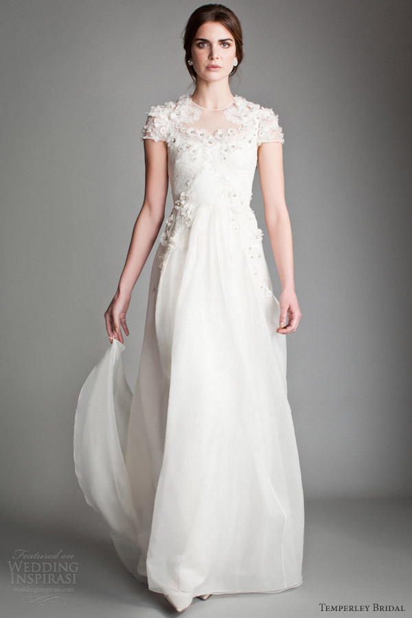 temperley london 2014 bridal japonica silk organza wedding dress flower bodice short sleeves