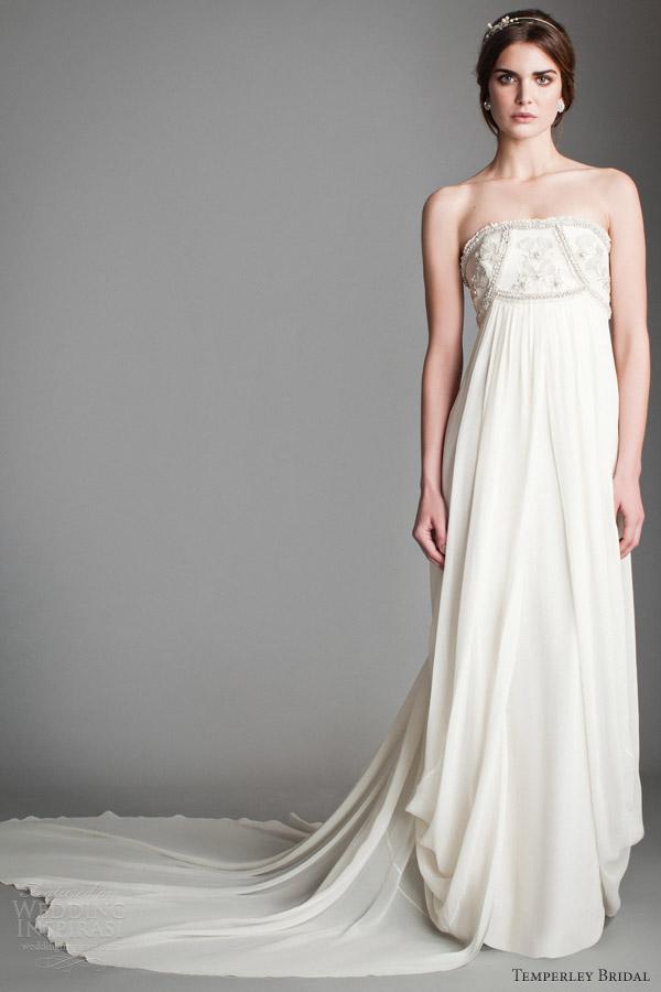 temperley wedding dresses 2014 bridal titania crystal mirage empire waist strapless gown