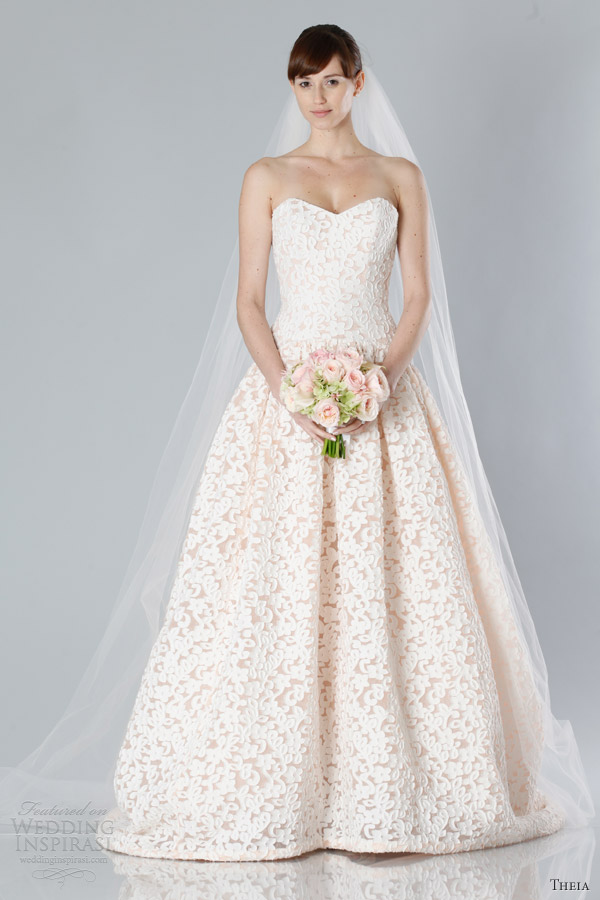 theia bridal fall 2013 2014 strapless wedding dress nude pink lace sweetheart ball gown
