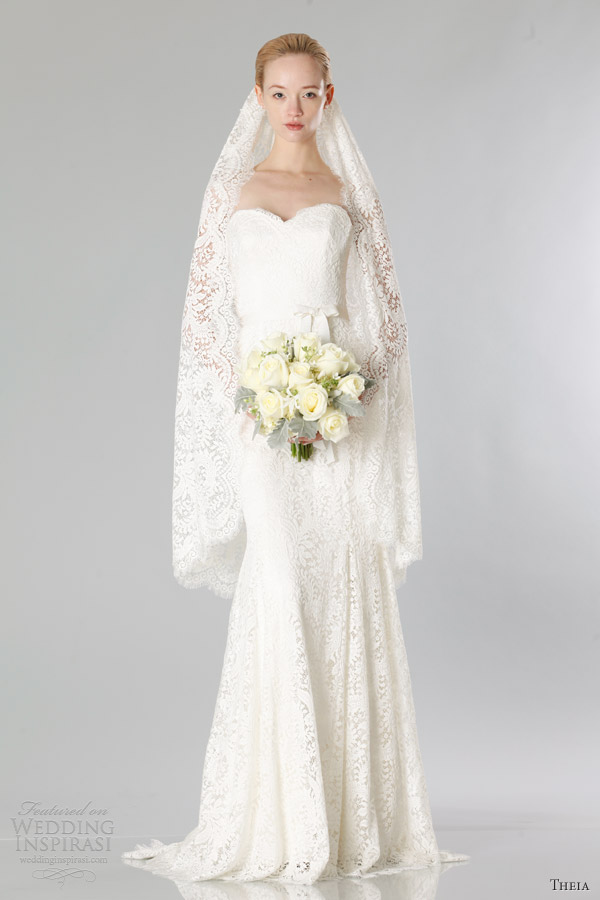 theia bridal fall 2013 strapless lace sheath wedding dress
