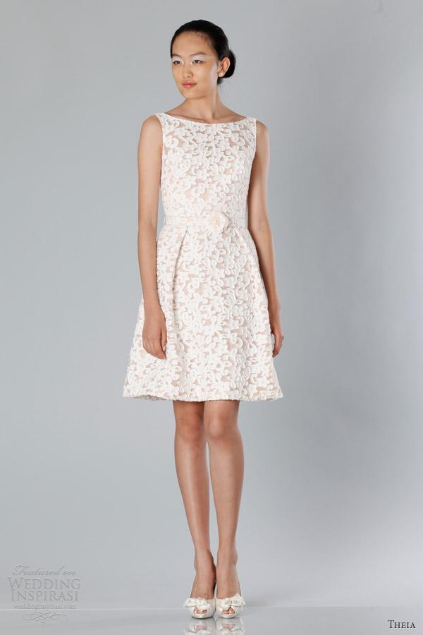 theia white collection fall 2013 2014 bridal sleeveless bateau neck short wedding dress
