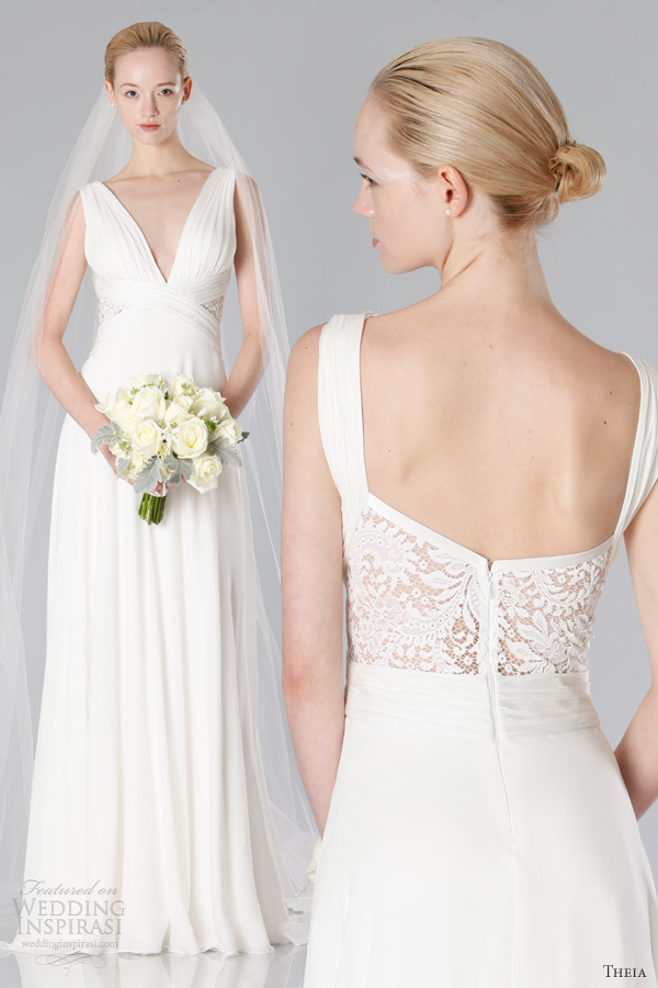 theia white collection fall 2013 bridal sleeveless draped bodice gown lace insert panel back