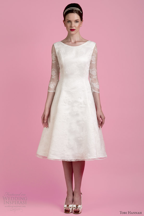 Tobi hannah spring 2014 wedding dresses the wall bridal for Wedding dresses tea length with sleeves