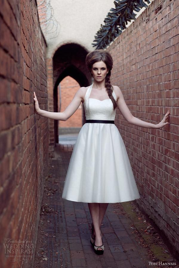 76575c531b5 tobi hannah wedding dresses 2014 bridal the wall strapless detachable  halter neck straps tea length