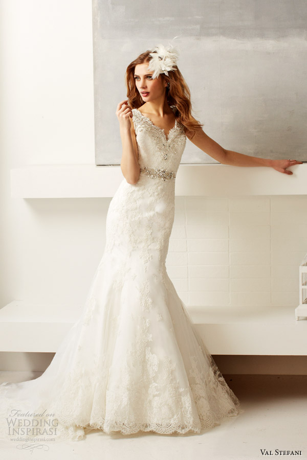 val stefani bridal fall 2013 wedding dress style d8047 sleeveless lace scallop neckline
