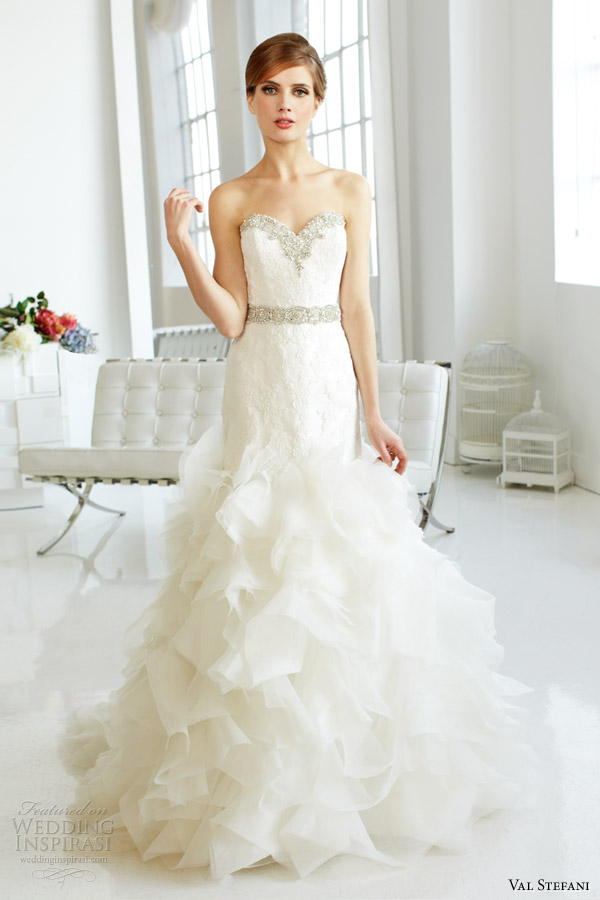 val stefani fall 2013 bridal strapless organza mermaid wedding dress d8045
