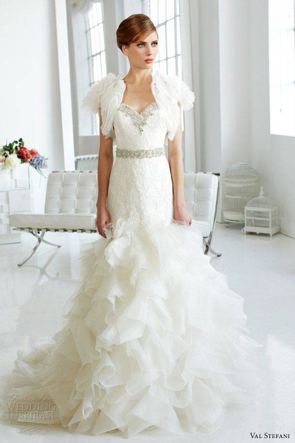 val stefani fall 2013 bridal strapless organza mermaid wedding dress d8045 short sleeve bolero jacket