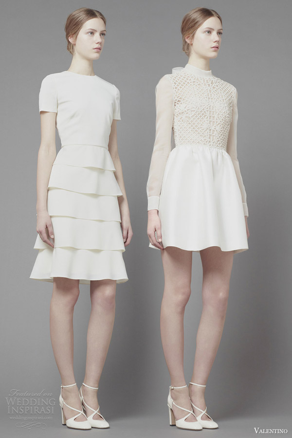 valentino fall 2013 2014 ready to wear long sleeve short sleeves white dresses