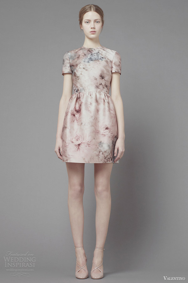 valentino fall 2013 2014 short print dress sleeves