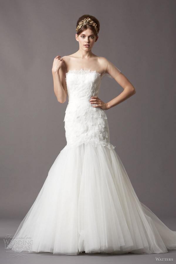 watters bridal fall 2013 spring 2014 eliza illusion short sleeve wedding dress 4057b