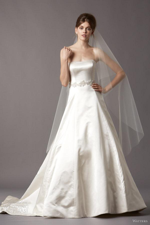 watters brides fall 2013 4083B jodie silk satin strapless neckline wedding dress