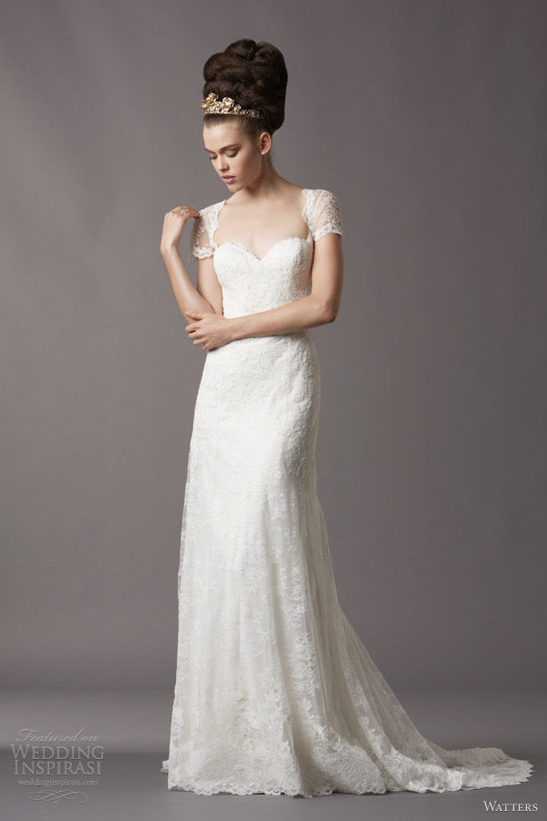 Watters brides fall 2013 wedding dresses wedding for Queen anne neckline wedding dress