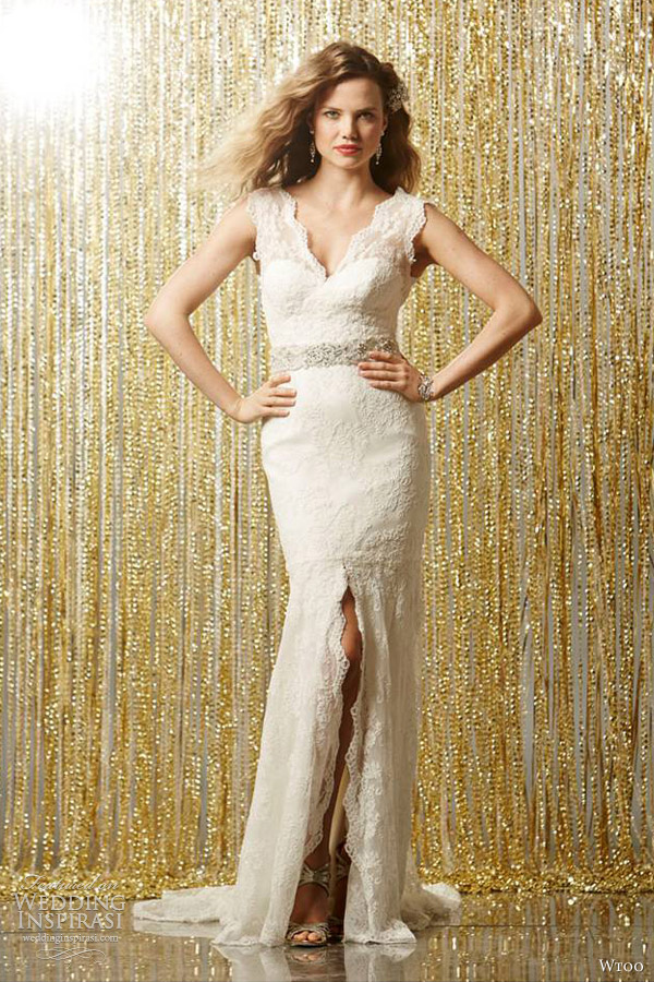 wtoo wedding dresses fall 2013 2014 venus sleeveless lace sheath