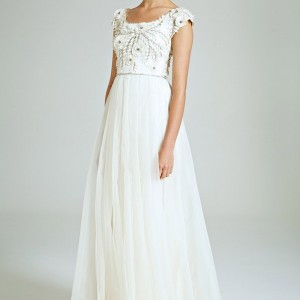 collette dinnigan bridal 2014 magical wonderland silk diamond petals embroidered wedding dress cap sleeves