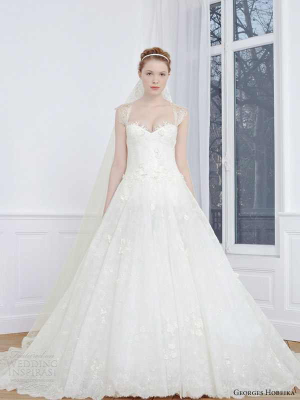 georges hobeika 2013 bridal a line wedding dress cap sleeves straps