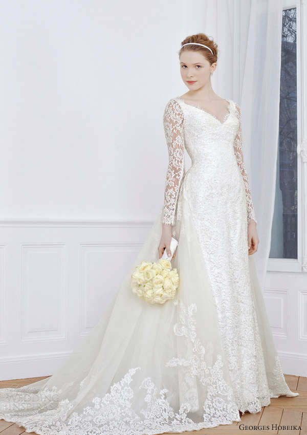 georges hobeika 2013 bridal long sleeve wedding dress