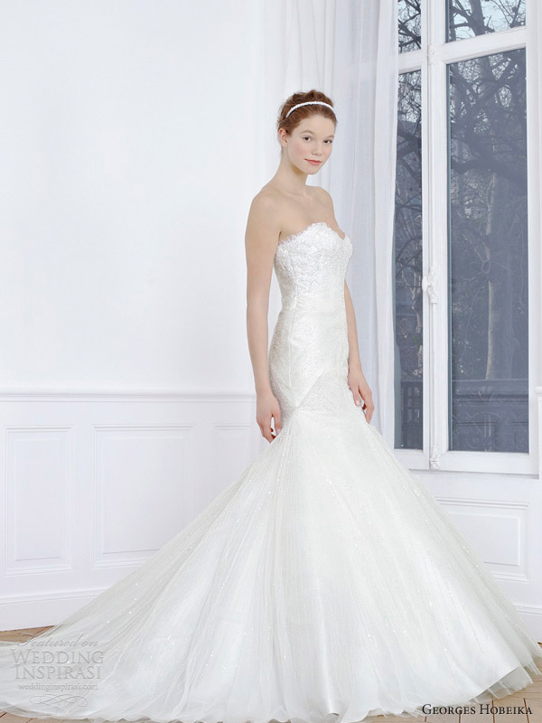 georges hobeika 2013 bridal strapless fit and flare wedding dress