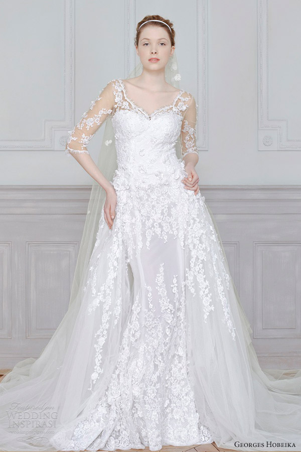 georges hobeika 2013 bridal wedding dress sleeves illusion
