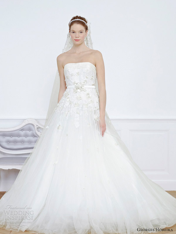 georges hobeika bridal 2013 strapless a line wedding dress