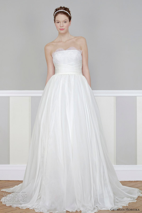 georges hobeika bridal 2013 strapless ball gown scalloped neckline