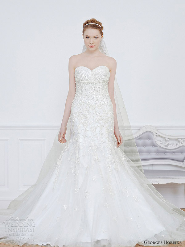 georges hobeika bridal 2013 strapless sweetheart wedding dress mermaid beaded embellished bodice