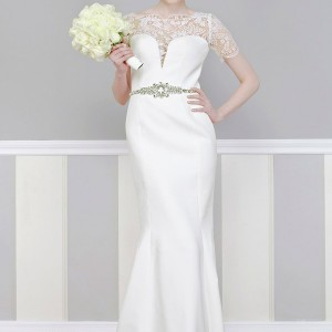 georges hobeika bridal 2013 wedding dress short sleeves illusion