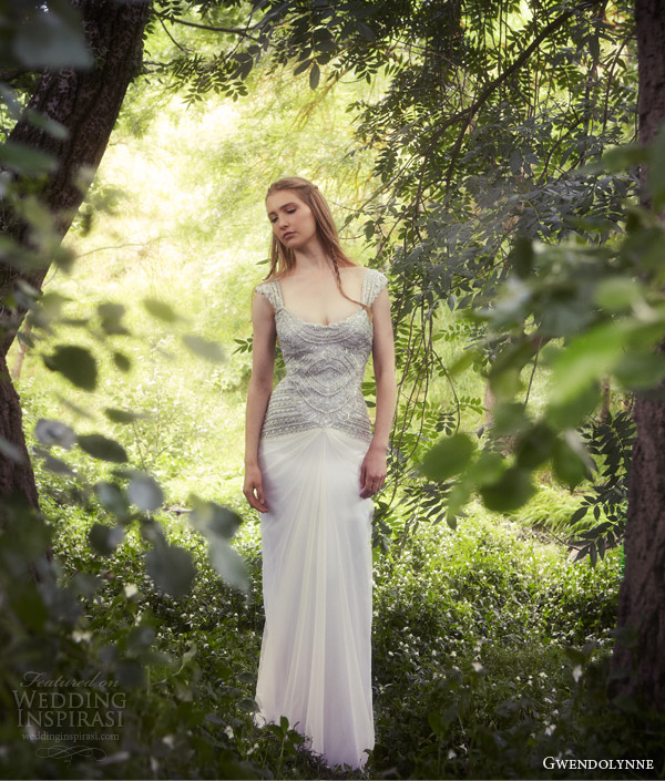 gwendolynne 2013 angel wedding dress beaded bodice straps cap sleeves