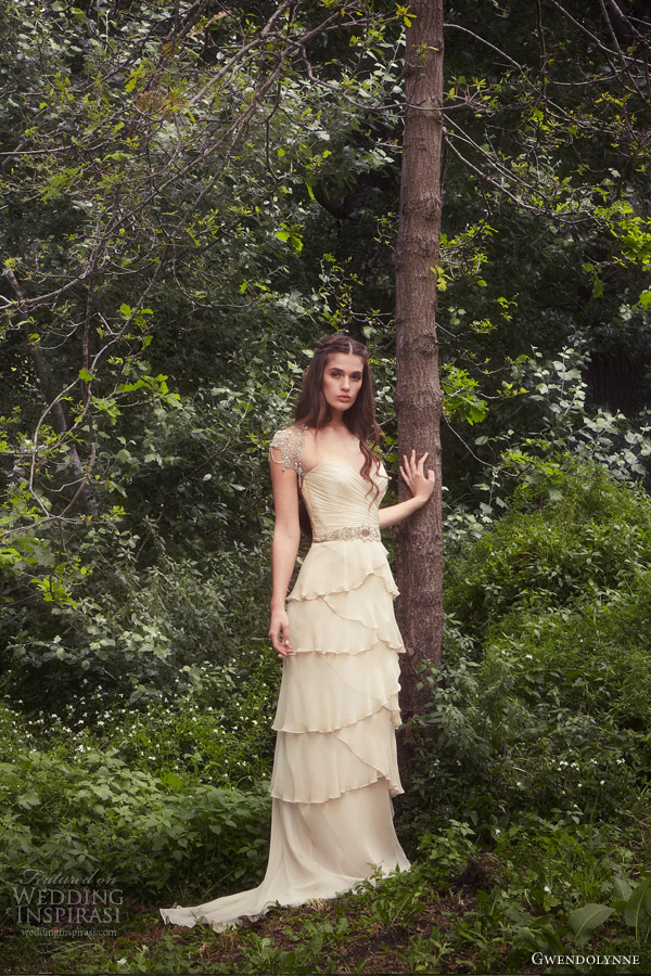gwendolynne burkin bridal 2013 tiered skirt beaded cap sleeves astrid