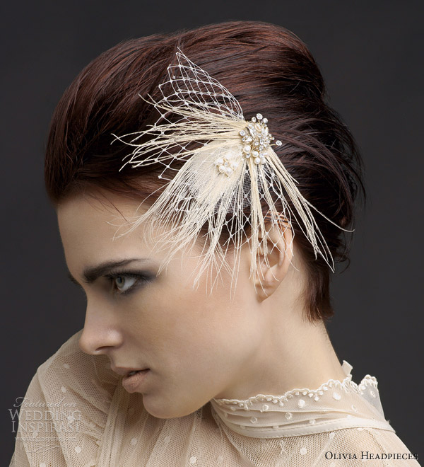 olivia headpieces 2013 adora peacock feather freshwater pearls hair comb russian netting