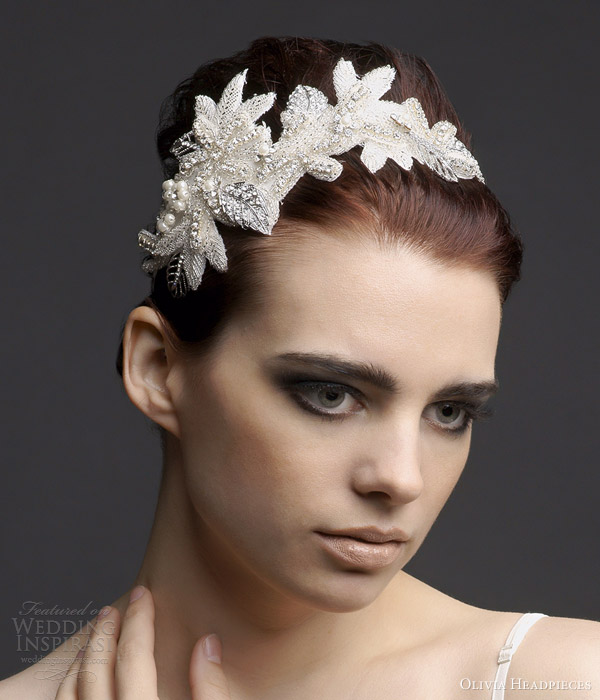 olivia headpieces 2013 aliz floral bridal hair accessory silver headband
