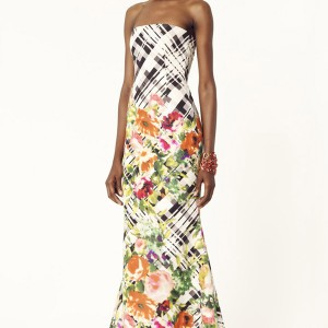 oscar de la renta 2014 resort multicolor chine floral tartan print silk faille strapless gown