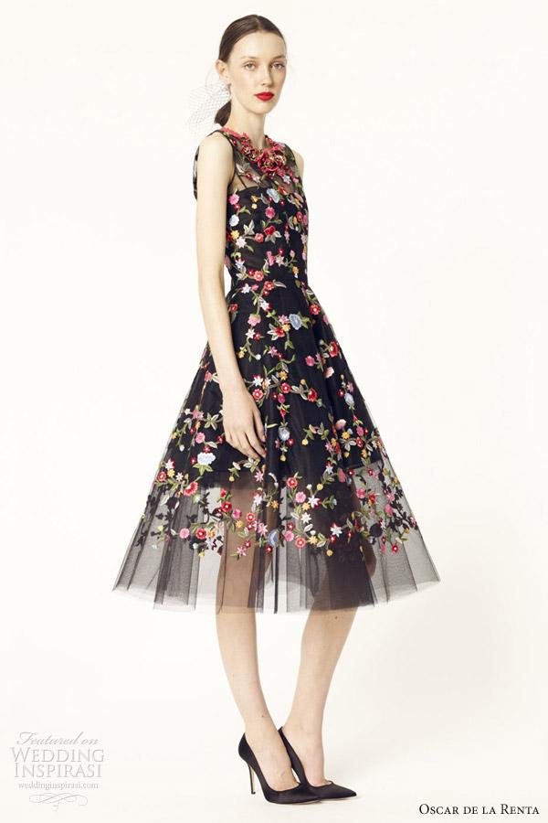 Oscar De La Renta Tea Length Dresses