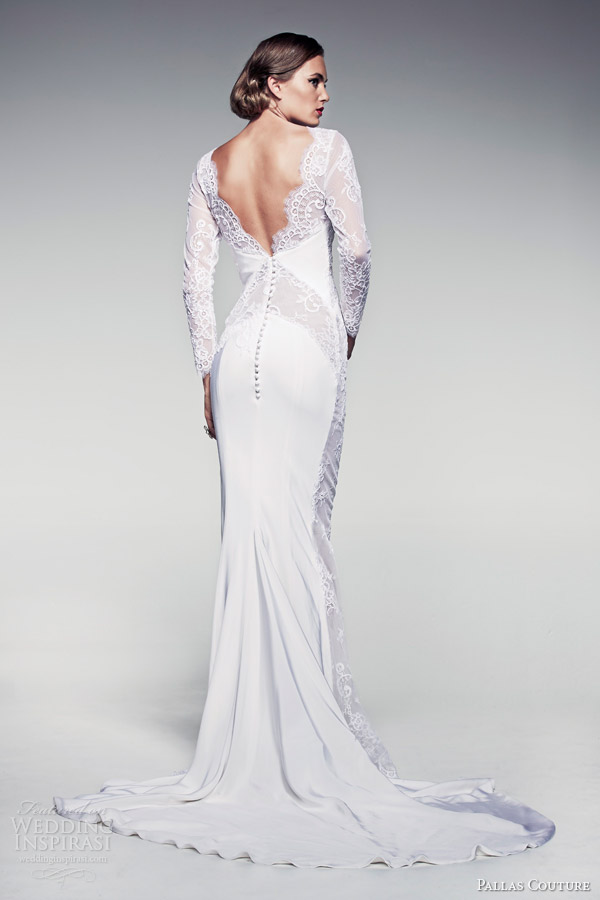 pallas couture bridal 2014 fleur blanche caressa long sleeve sheath wedding dress back train