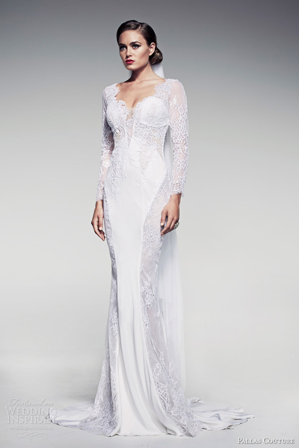 pallas couture bridal 2014 fleur blanche caressa long sleeve sheath wedding dress