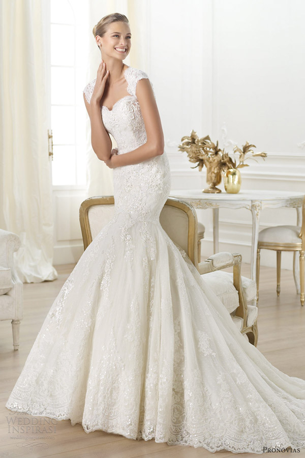 pronovias 2014 costura letha lace fit flare mermaid cap sleeves