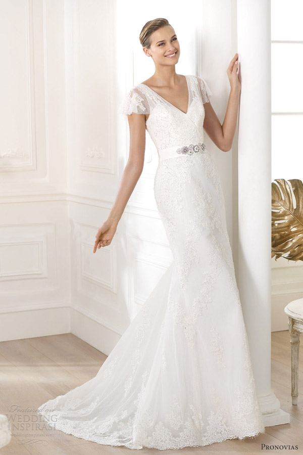 pronovias 2014 costura lianela flutter sleeve wedding dress