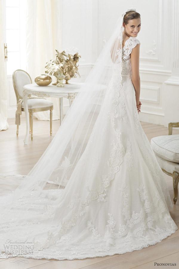 pronovias bridal 2014 costura lencie wedding dress lace straps