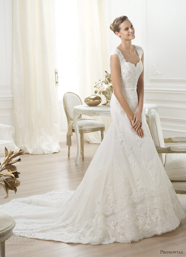pronovias bridal 2014 costura lencie wedding dress sweetheart lace straps