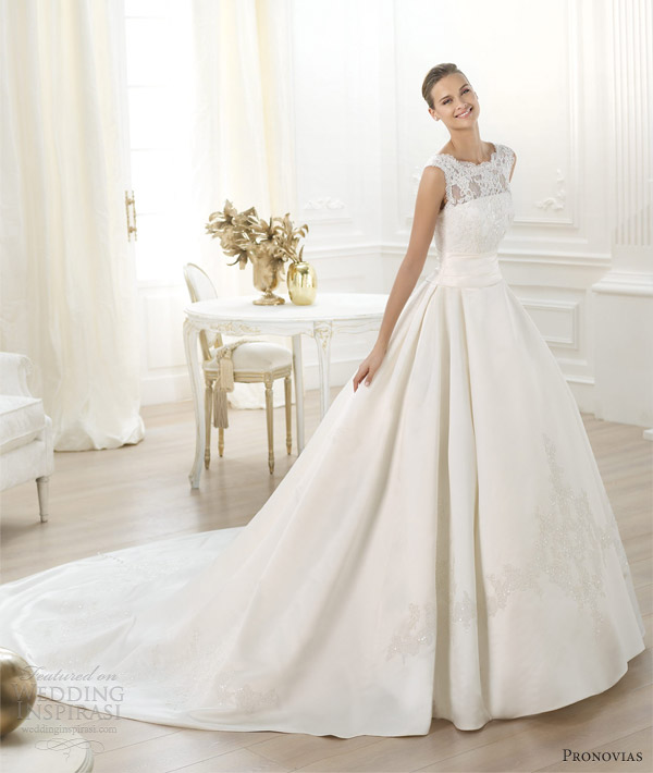pronovias wedding dresses 2014 bridal costura laudin ball gown lace bodice