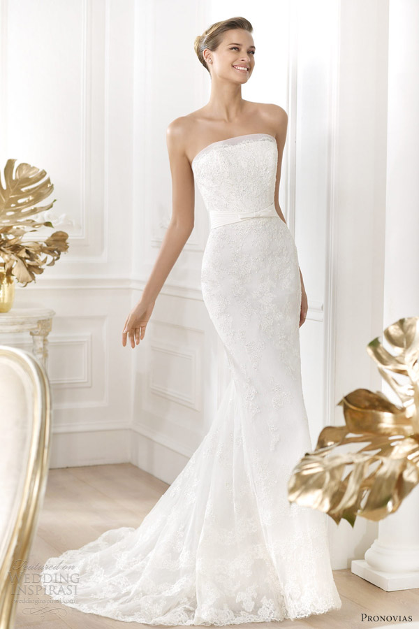 pronovias wedding dresses 2014 costura leiva strapless sheath gown