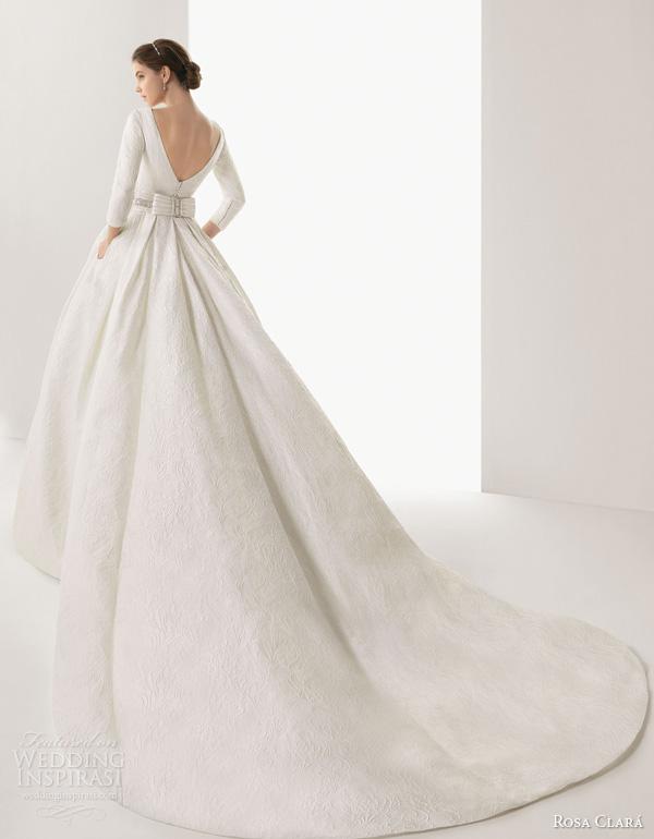 rosa clara 2014 bridal caceres silk brocade ball gown wedding dress sleeves watteau train