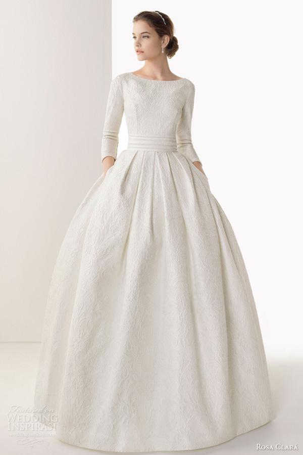 rosa clara 2014 bridal caceres silk brocade ball gown wedding dress sleeves