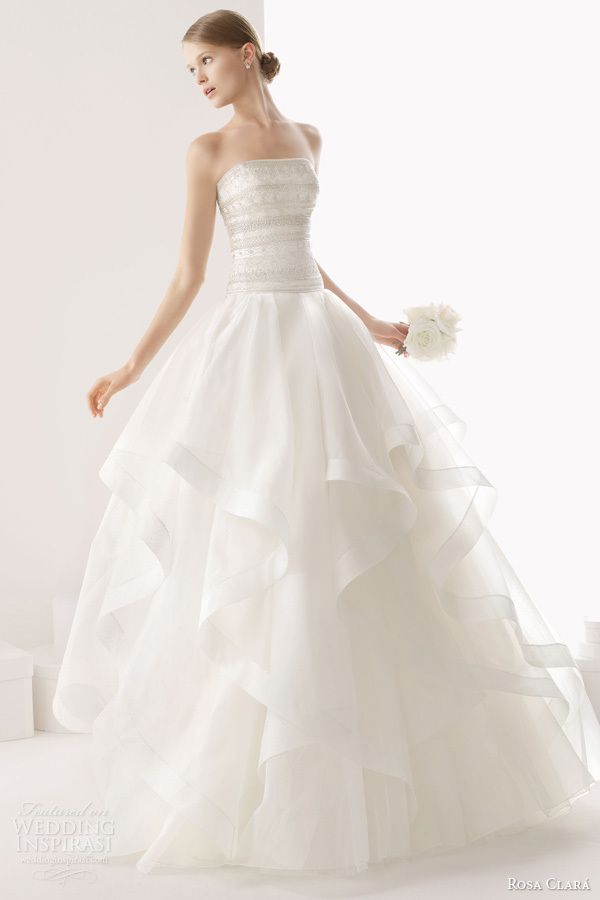 rosa clara 2014 cesar beaded bodice strapless ball gown wedding dress