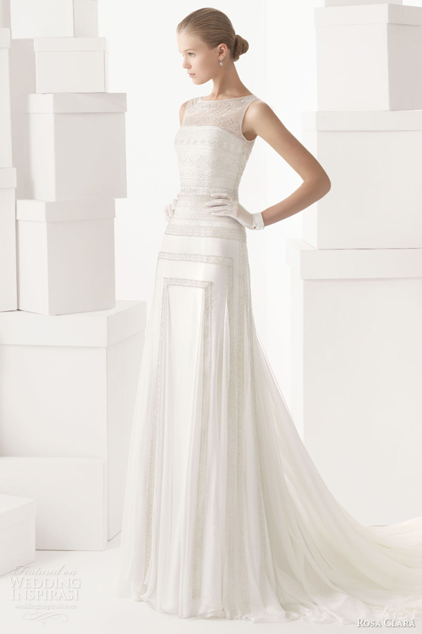 rosa clara 2014 cintia beaded sheath sleeveless wedding dress