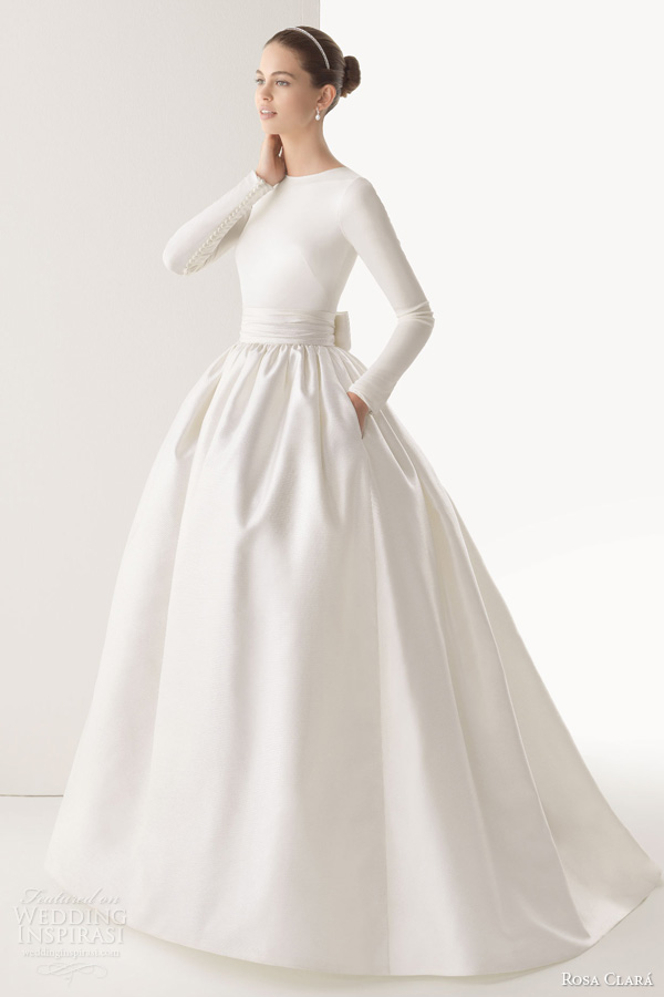 Ball Gown Wedding Dresses With Long Sleeves : Corcega tulle silk organza ball gown wedding dress long sleeve top