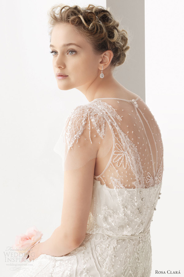 rosa clara 2014 soft ubeda beaded wedding dress flutter sleeves