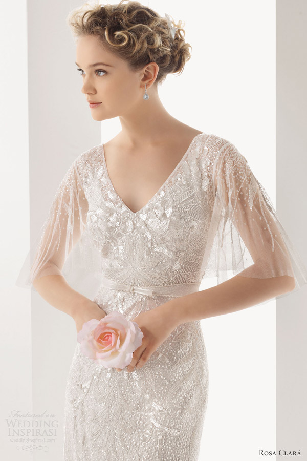 rosa clara 2014 soft ubela beaded wedding dress bodice flutter sleeves