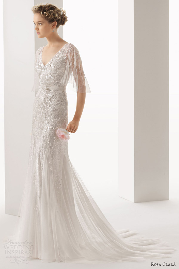 rosa clara 2014 soft ubela beaded wedding dress flutter sleeves