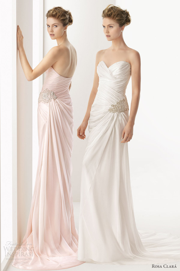 rosa clara 2014 soft utopia strapless pink color wedding dress sweetheart neckline