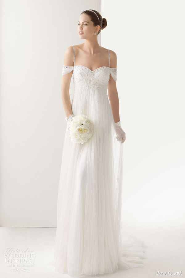 rosa clara bridal 2014 comillas empire waist draped wedding dress